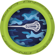 Blue Camo Lacrosse Stick Lime End Cap