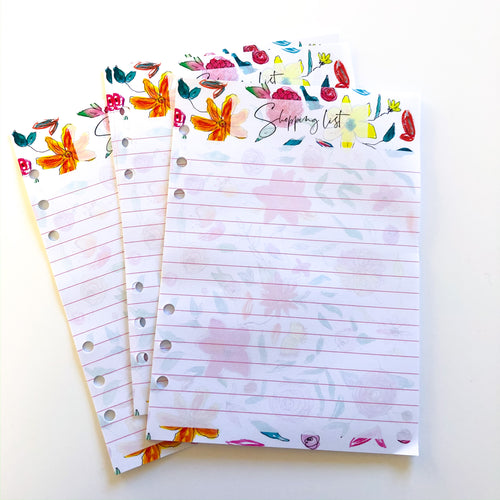 Shopping list Inserts - handrawn floral