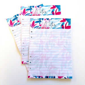 Notes Inserts - blue and pink floral