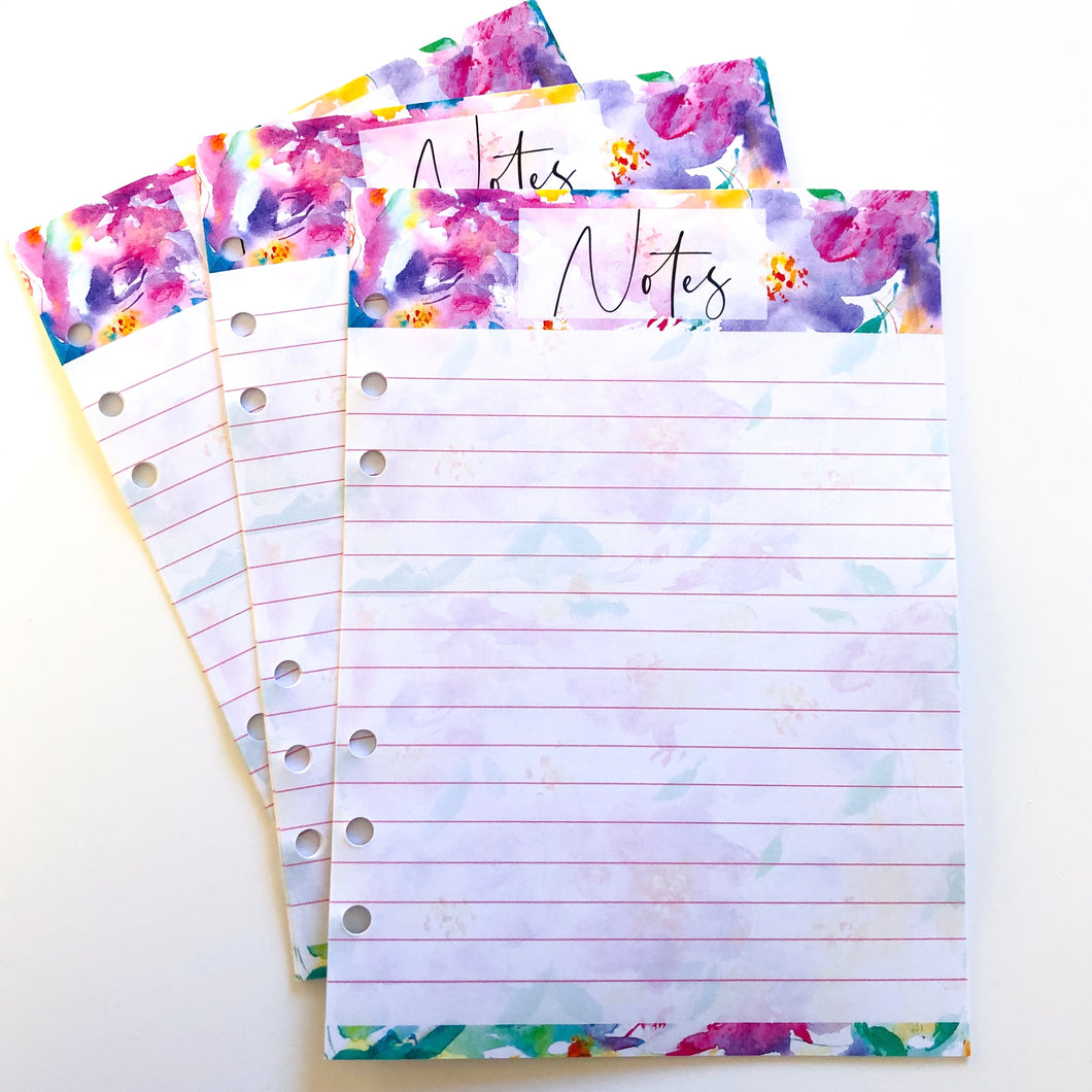 Notes Inserts - purple and yellow floral