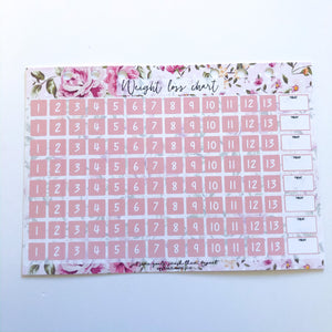 Weight loss chart without stickers - pink floral