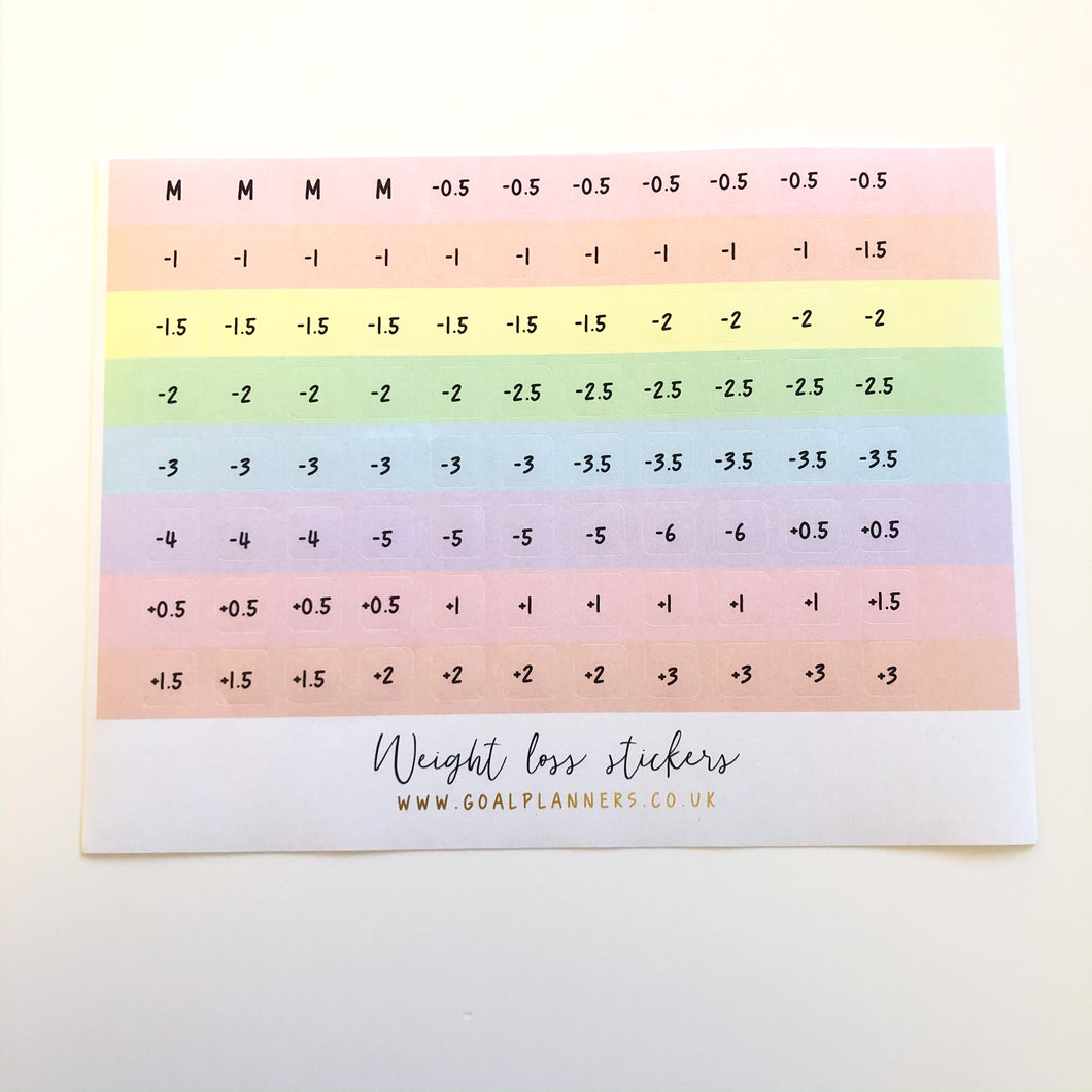Pastel weight loss stickers