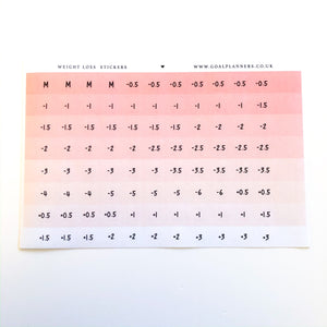 Pink ombré weight loss stickers