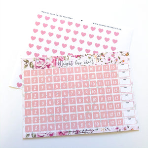 Weight loss chart with stickers - pink floral