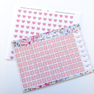 Copy of Weight loss chart with stickers - blue floral