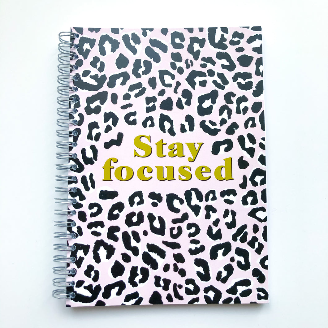 Stay focused pink leopard print Planner