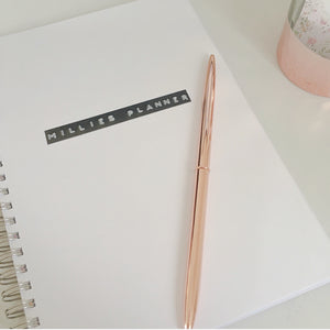 Hand stamped planner - name