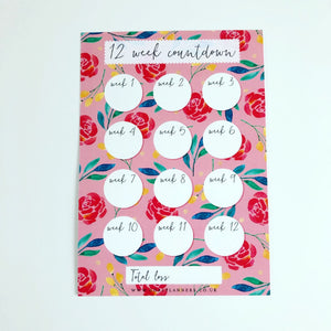 Pink floral spring countdown