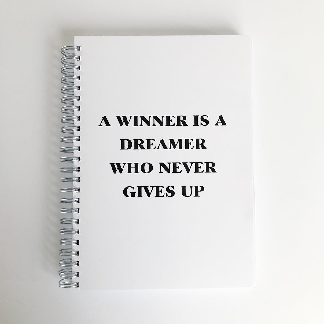 A winner is a dreamer who never gives up food diary