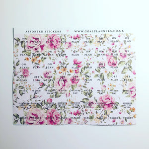 Assorted pink floral stickers