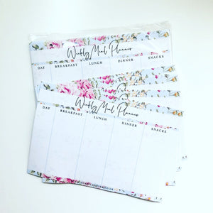 Inserts - blue floral weekly meal planner