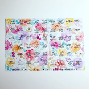 Motivational floral stickers