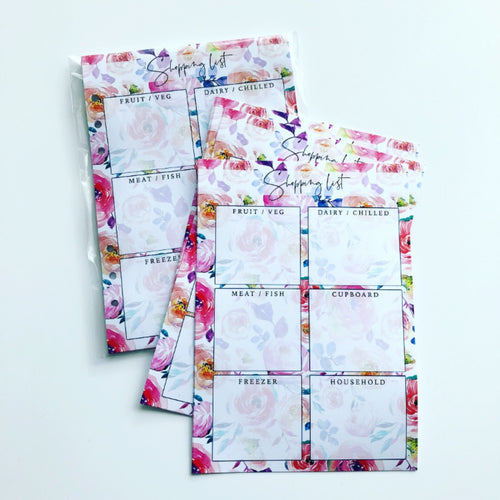 Inserts - floral shopping list