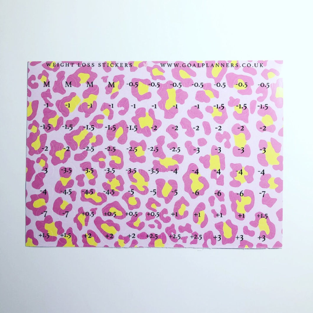 Pink leopard print weight loss stickers
