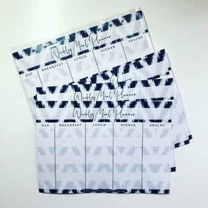 Inserts - Navy blue chevron weekly meal planner
