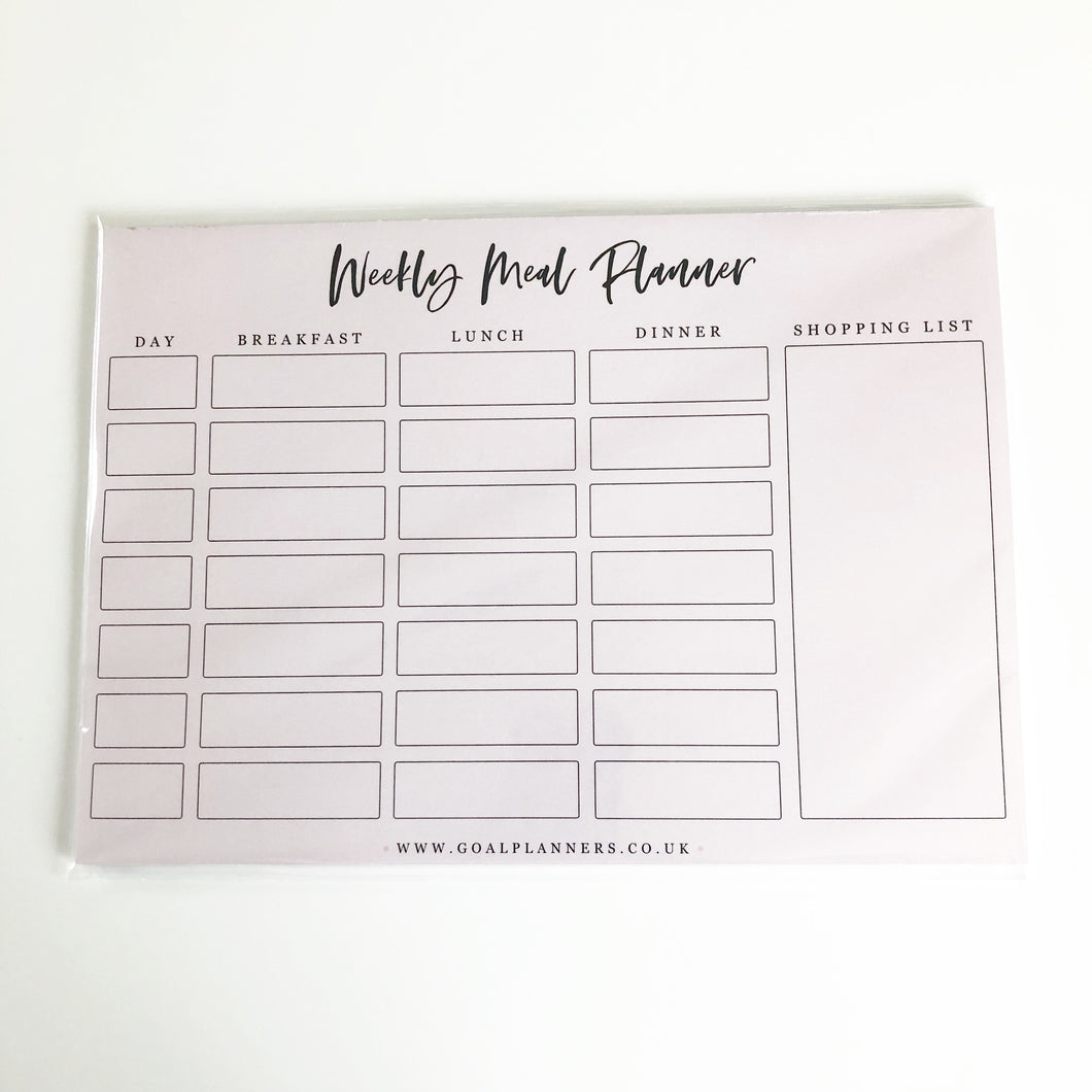 Weekly meal planning pad
