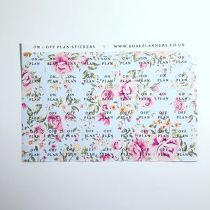 Blue floral on / off plan stickers