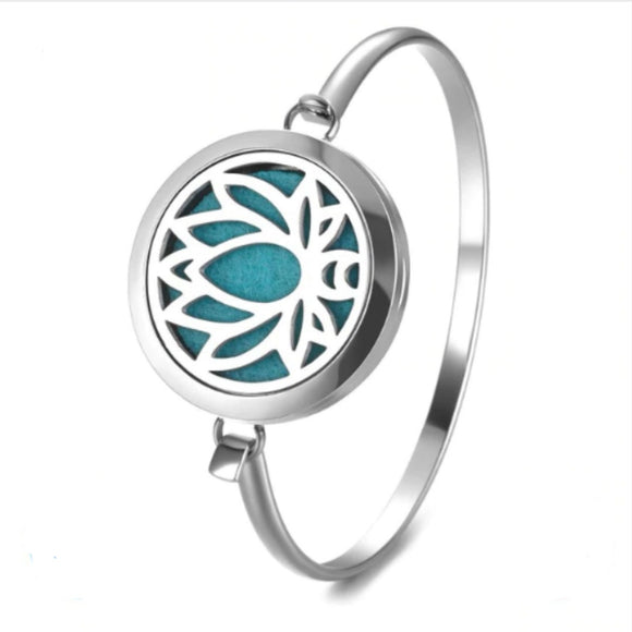 Lotus Stainless Steel Diffuser Bangle