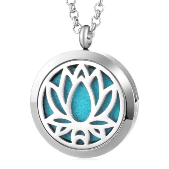 Lotus Stainless Steel Diffuser Necklace