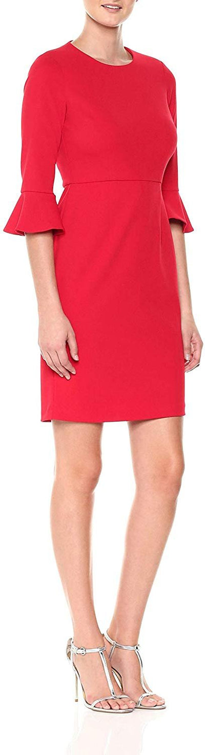 Donna Morgan Women's Kendall 3/4 Elbow Bell Sleeve Sheath Dress