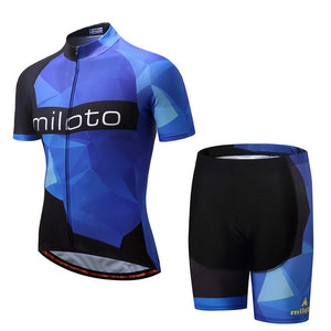 Miloto Men's Team Cycling Set w/shorts - Black/Blue - Deluxe Riders