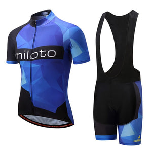 Miloto Men's Team Cycle Set w/bib - Black/Blue - Deluxe Riders
