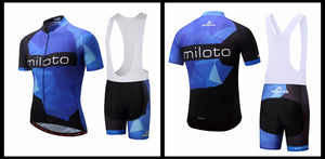 Miloto Men's Team Cycling Set w/bib - Black/Blue/White - Deluxe Riders