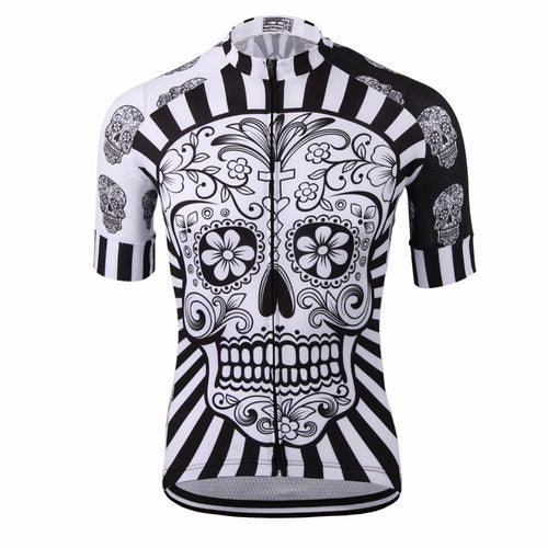 Men's Cycle Jersey ~ Short Sleeve, Skull White - Deluxe Riders