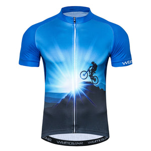 Men's Cycle Jersey ~ Short Sleeve, Blue Mtn - Deluxe Riders