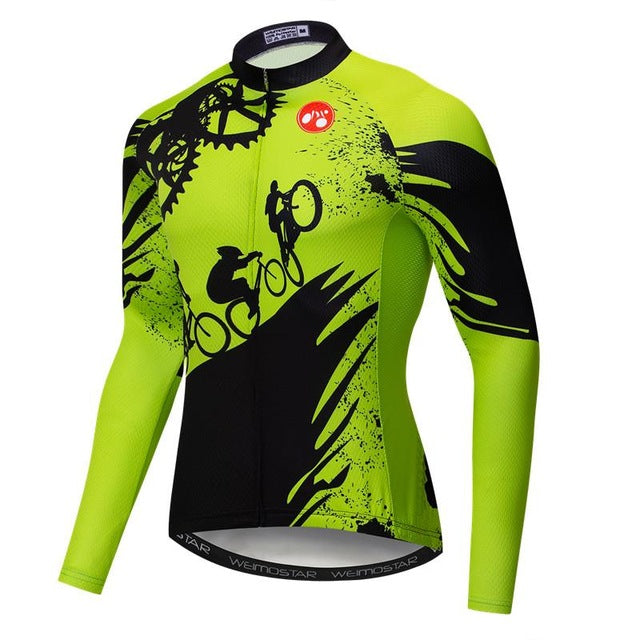 Men's Cycle Jersey ~ Long Sleeve, Wheelie G - Deluxe Riders