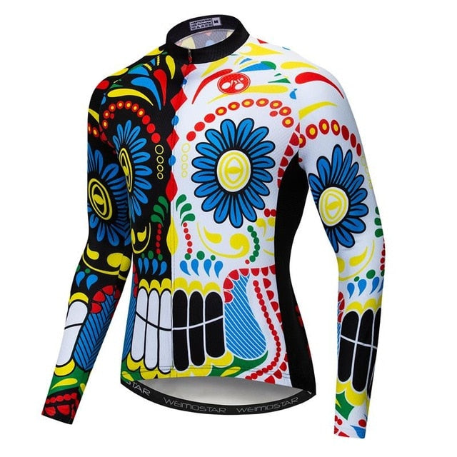 Men's Cycle Jersey ~ Long Sleeve, Skull Flower - Deluxe Riders