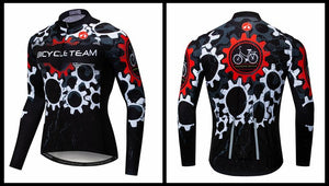 Men's Cycle Jersey ~ Long Sleeve, Team Gears - Deluxe Riders