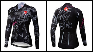 Women's Cycle Jersey ~ Long Sleeve, Sketch - Deluxe Riders