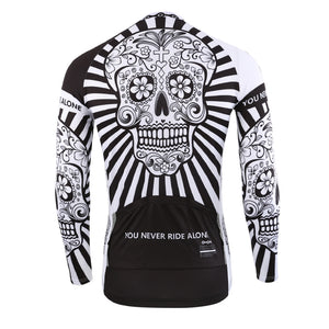 Men's Cycle Jersey ~ Long Sleeve, Skull White - Deluxe Riders