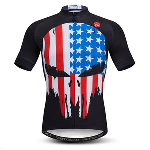 Men's Cycle Jersey ~ Short Sleeve, USA Skulls 2 Colors - Deluxe Riders