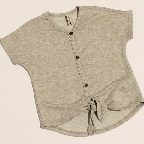 Toddler Grey Short Sleeve Knot Top