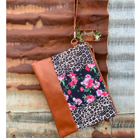 Cheetah and Floral Wristlet