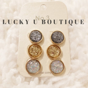 Set of 3 Druzy Stud Earrings in Gold, Silver, and AB