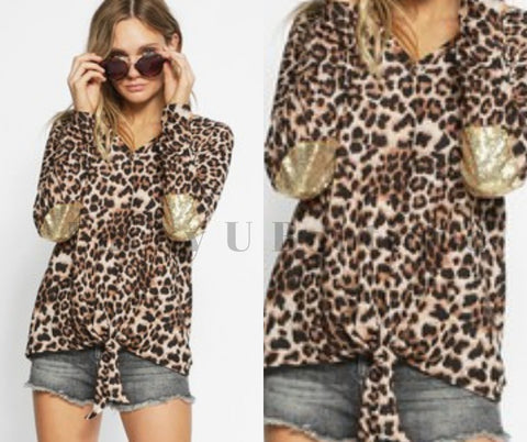 Do Not Disturb Cheetah and Sequin Top
