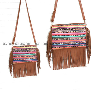 Serape and Cheetah Fringe Crossbody