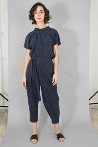 Raw Silk Ruched Neck Top - Navy