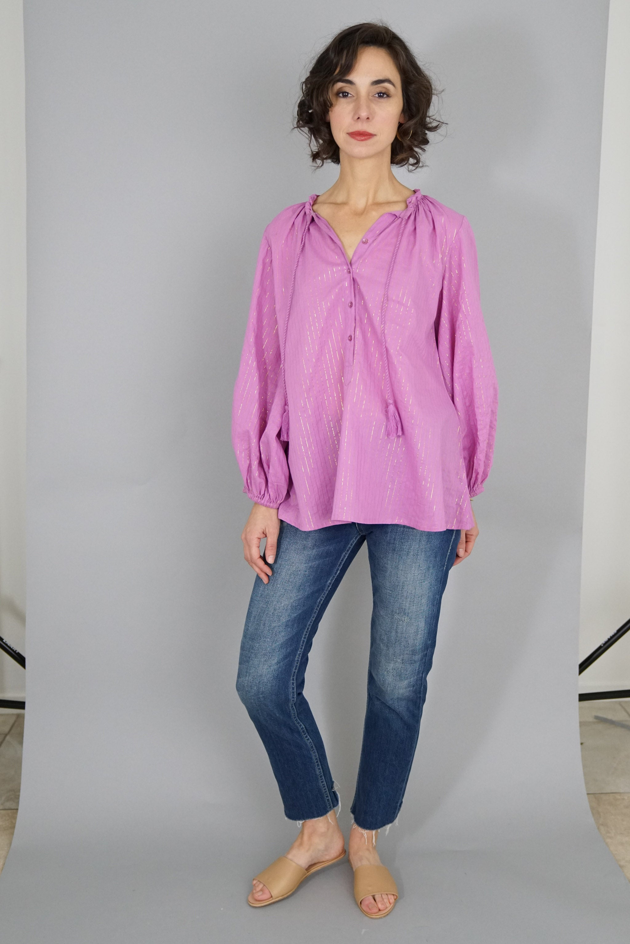 Bardot Top - Pink Lurex