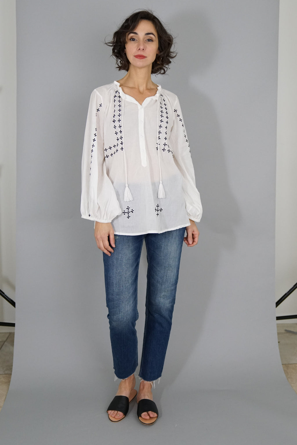 Bardot Top - Embroidered White