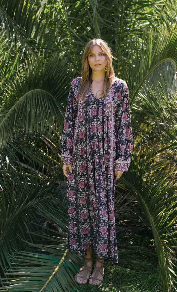Fiore Maxi Dress - Vintage flowers Violet