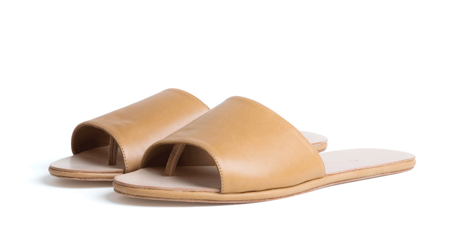 Caelum Slide Sandal - Tan Smooth Leather