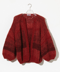 Tweed Melange Big Cardigan - Rusty Red with Wine