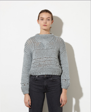 Short Patterned Sweater - Silver