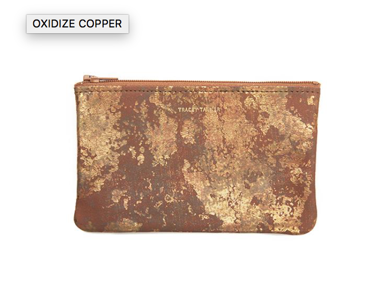 Small Flat Zip  - Oxidized Copper