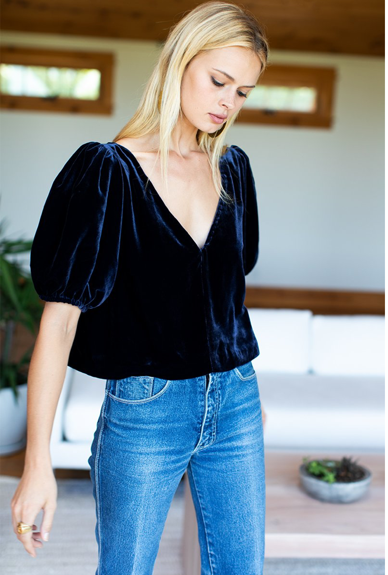 Balloon Mod Top - Midnight Silk Velvet