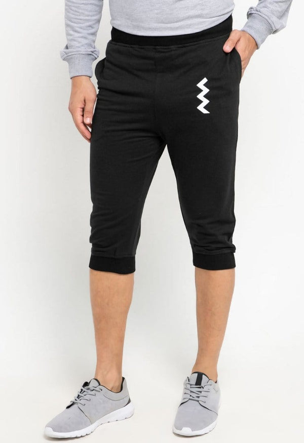 MB075 short jogger zigzag ver black